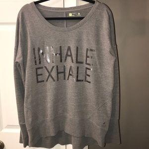 "XL gray ""Inhale/Exhale"" sweatshirt. Like new."